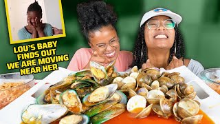 MUSSELS AND CLAMS SEAFOOD MUKBANG + LOU'S DAUGHTER FINDS OUT WE ARE MOVING NEAR HER!