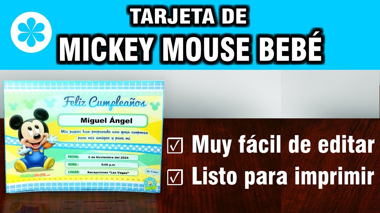 u00a1Tarjeta de Cumpleaños de Mickey Mouse Bebé, listo para imprimir! YouTube