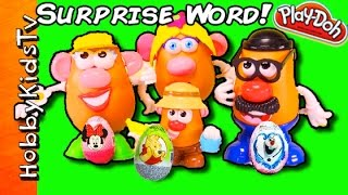 SURPRISE Potato Heads Toy Word! + Play-Doh Surprise Egg HobbyKidsTV