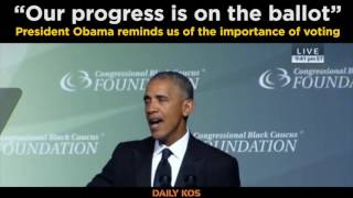 """Our progress is on the ballot"" - President Obama"
