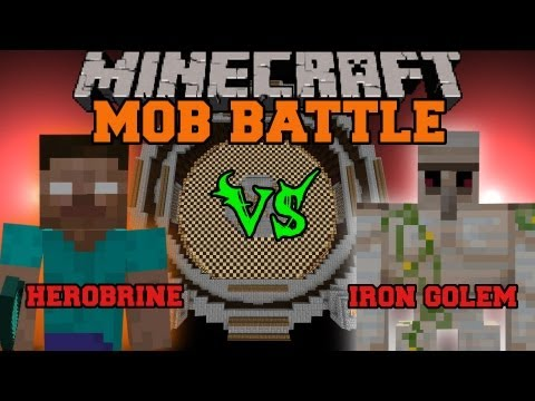 Herobrine Vs Iron Golem - Minecraft Mob Battles - Arena Battle