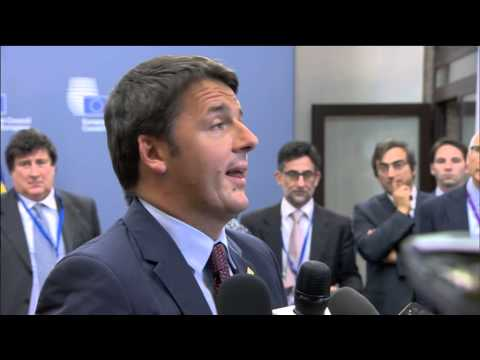 Arrival and doorstep by Matteo Renzi, Prime Minister of Italy, before the European Council