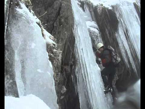 Ice climbing/ mountaineering in the Black Ladders, N Wales.