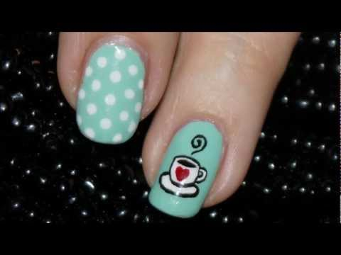 Cute Coffee Cup Nail Art