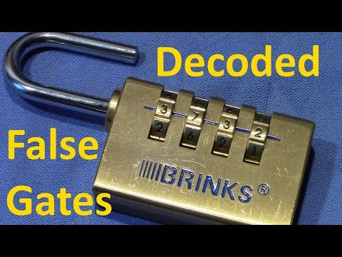 (picking 444) Decoded: BRINKS 4 wheel combination padlock / false gates (quickly. no tools)