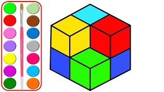 Cubo de Rubik para colorear para niños l Cómo dibujar cubo de rubik