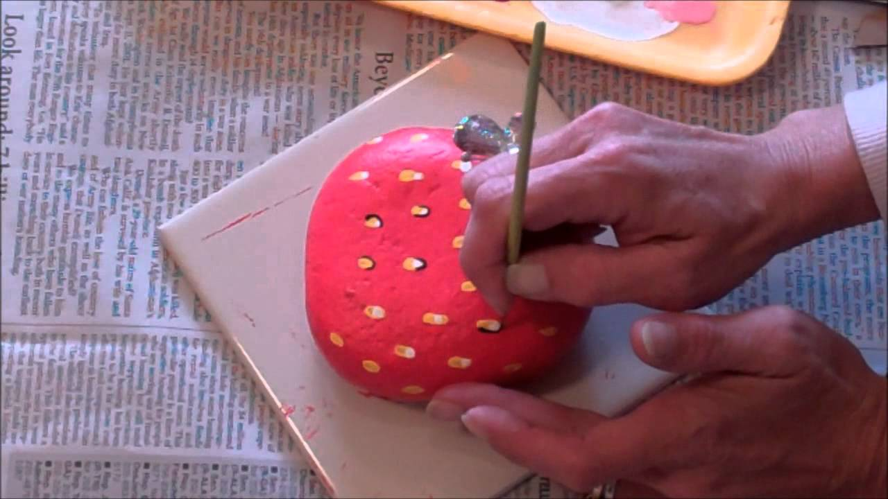 How 2 Paint A Rock Into A Juicy Strawberry Youtube