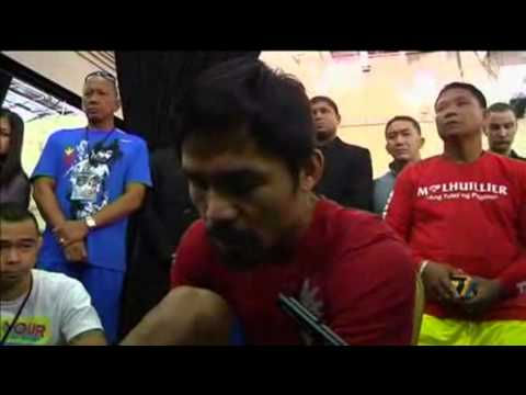 Manny Pacquiao Trains for Fight Against Brandon Rios In Macau