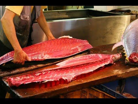 เลื่อยปลาทูน่า คลีบเหลือง ทั้งยังฟรีซเป็นน้ำแข็ง คมยิ่งกว่าดาบซามูไร Osaka Central Fish Market