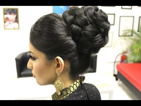 Asian Bridal Hairstyles | Pakistani, Indian Wedding Hair Style | Updo Bun using Doughnut or Donut