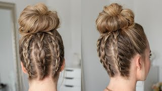 Three Dutch Braids High Bun | Missy Sue