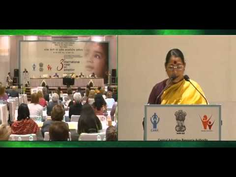 "Union Minister of State for WCD, Krishna Tirath, Addressing 3rd ""INTERNATIONAL MEET ON ADOPTION""."
