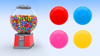 GUMBALL MACHINE : LEARN COLORS WITH BUBBLE GUMBALL MACHINE: KIDS LEARNING VIDEOS