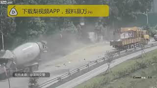 Loose crane arm takes out a motorcyclists and a cement truck driver