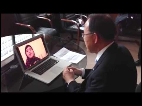 Ban Ki-moon, Skype conversation with Malala Yousufzai - Madrid (Spain)