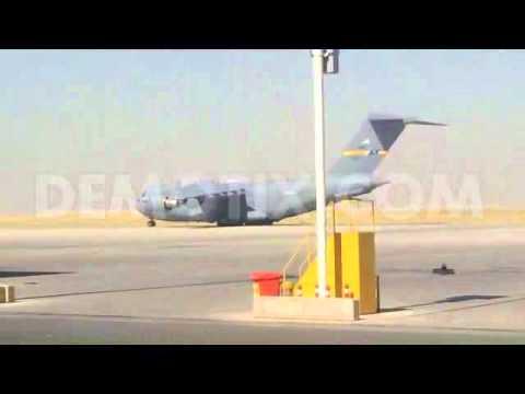 US Secretary of State John Kerry landing in Erbil, North Iraq