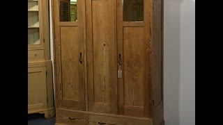 Three Door Antique Wardrobe  - Pinefinders Old Pine Furniture Warehouse
