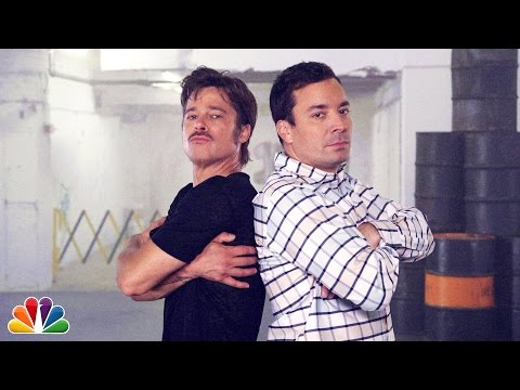 "Jimmy and Brad Pitt have a ""breakdance conversation"" from the basement of 30 Rock in New York City. Subscribe NOW to The Tonight Show Starring Jimmy Fallon: ..."