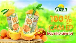 Quảng cáo Vfresh Cam ép 100% mới- hộp nhỏ tiện lợi 180ml