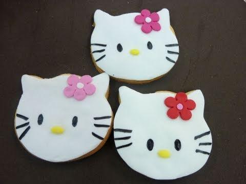 Como hacer cookies de Hello Kitty con fondant. How to make Hello Kitty ...