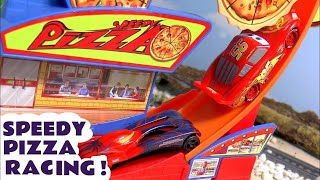 Disney Pixar Cars Hot Wheels Speedy Pizza Race with McQueen and Marvel Superhero Friends