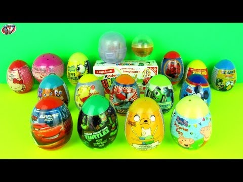 20 Surprise Eggs Kinder Surprise SpongeBob Mickey Mouse Clubhouse Peppa Pig Disney Cars Hello Kitty