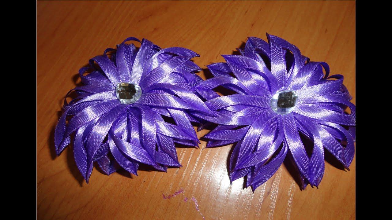 Цветы своими руками из тонких ленточек 96
