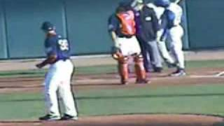 Delmon Young Throws And Hits An Umpire With His Bat