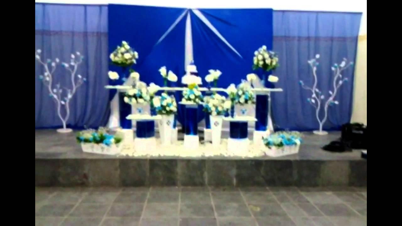 Felix Cerimonial Decoraç u00e3o Azul Royal e Branco YouTube -> Enfeites De Mesa Para Casamento Azul E Branco