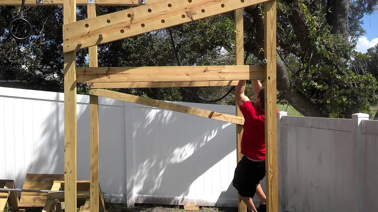 Backyard Ninja Warrior Plans : Backyard ninja course  YouTube