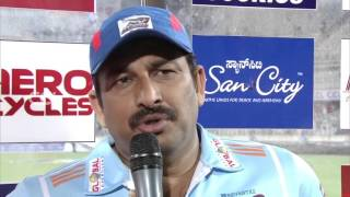Manoj Tiwari at Match Presentation  - CCL6 || Telugu Warriors vs Bhojpuri Dabanggs