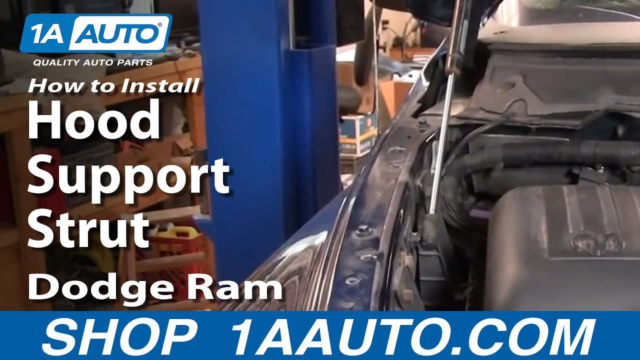 How to Install Repair Replace Hood Support Struts Dodge Ram 02-08 1AAuto.com - YouTube