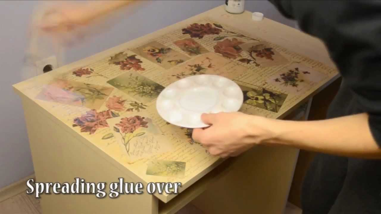How To Decoupage Desk In Retro Style Decopatch Youtube