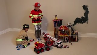 Boys playing with Firefighter Toys and Fire Station!