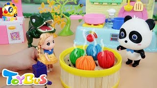 Baby Panda Makes Flower Buns | Play Doh Cooking | Panda's Cooking Competition | Juice Party | ToyBus