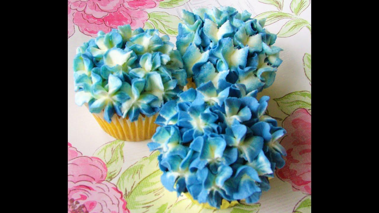 Buttercream Hydrangea Cupcake Tutorial - YouTube