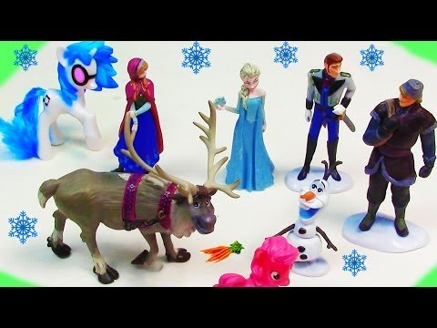 Disney Frozen Princess Anna Queen Elsa Hans Kristoff Olaf Movie Doll Store Toy Review MLP DJ Pon 3