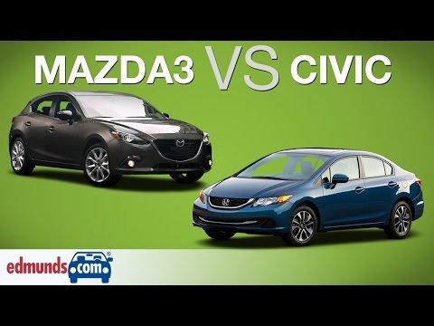 Honda Civic vs Mazda3 - Edmunds A-Rated Compact Cars Face Off