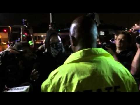 Ron Johnson Talks To Masked Protestor In Ferguson
