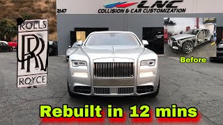 REBUILDING A SALVAGE ROLLS ROYCE IN 12 MINUTES INCREDIBLE CAR BUILD TRANSFORMATION