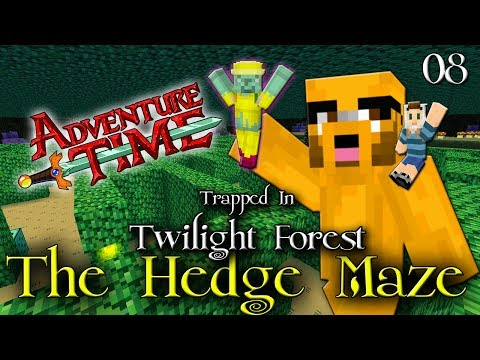 Adventure Time Minecraft : TRAPPED IN TWILIGHT FOREST Ep 08 The Dark Forest Hedge Maze