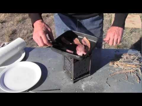 Perfect Bacon and Eggs outdoor cooking on the folding FIREBOX camp stove
