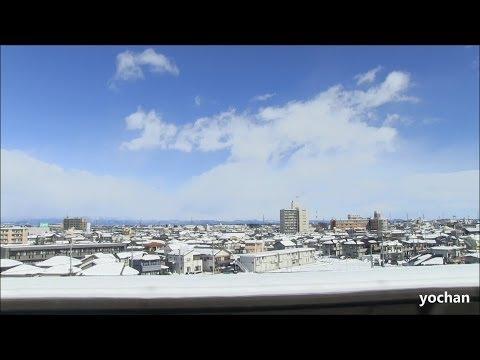 Snow scene - Train window view.Jōetsu Shinkansen (Kumagaya city, Near Tokyo)