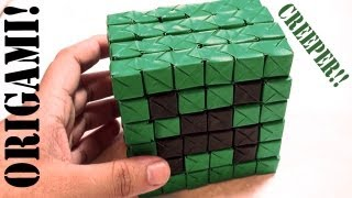 Minecraft Mini Creeper Part 2 - 3d Head (sonobe): Daily Origami - 543 [tcgames Hd]