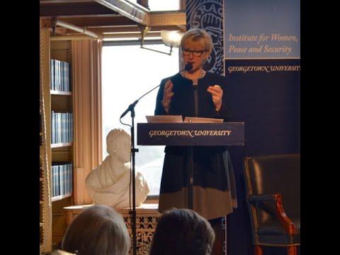 Margot Wallström, Swedish Minister of Foreign Affairs, at Georgetown University