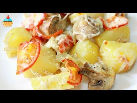 Как запечь картошку с грибами - видео