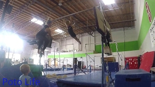 Gymnastics pull overs on the high bar with little gymnast, Brea