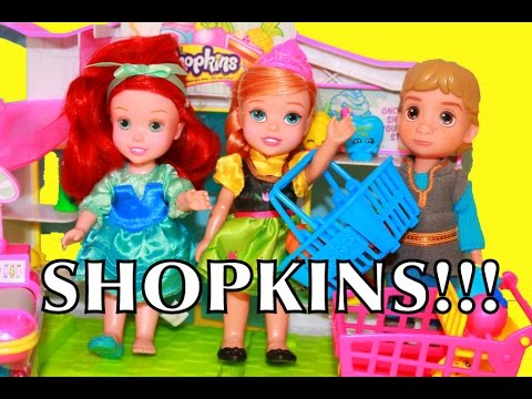 AllToyCollector Shopkins Frozen Young Anna & Ariel Toys Disney Princess Small Mart Little Mermaid