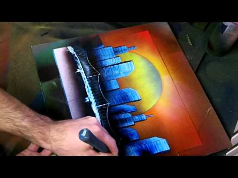 Simple Sunset Skyline - Spray Paint Art
