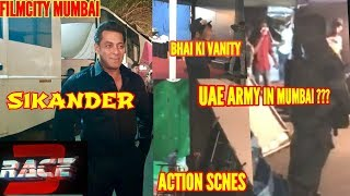 SALMAN KHAN ON SET FOR RACE 3 SHOOT IN FILM CITY | UAE ARMY SPOTTED | ACTION SCENES SHOT